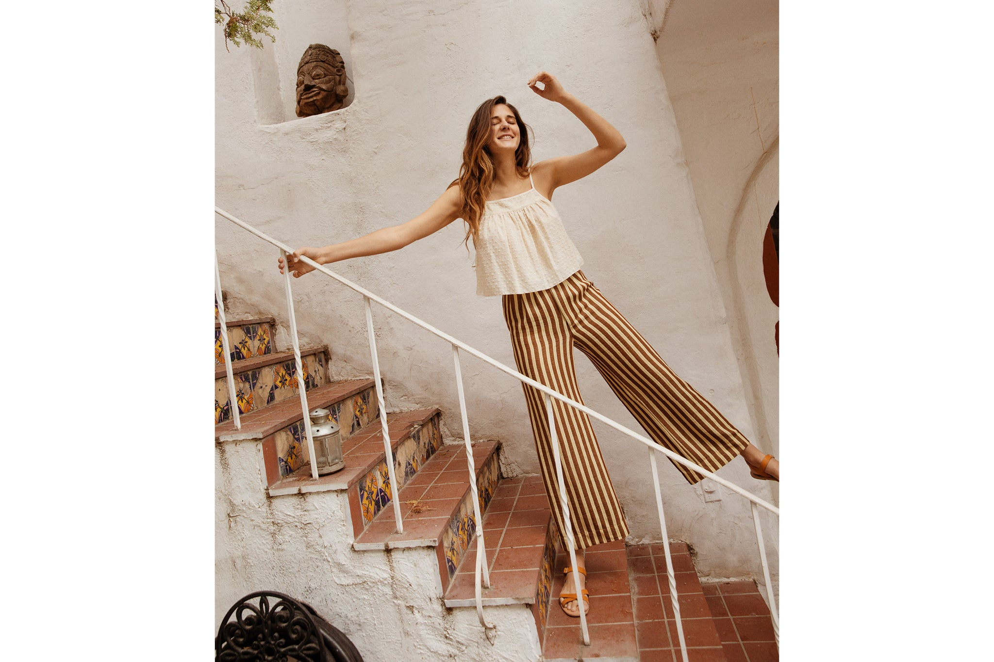 The Mara Trouser | Nutmeg Stripe