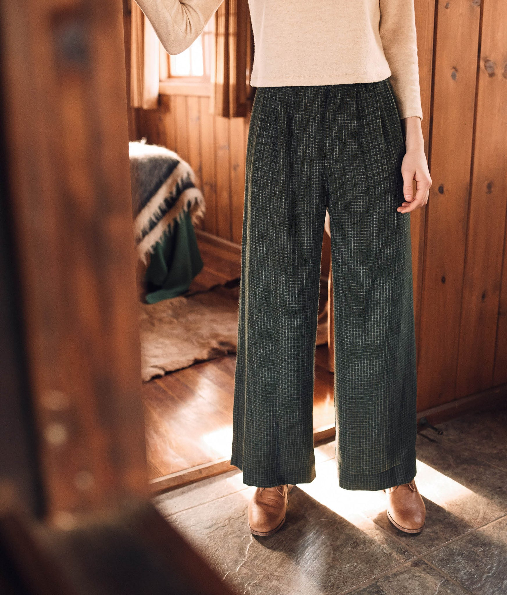The Mara Trouser | Forest Plaid