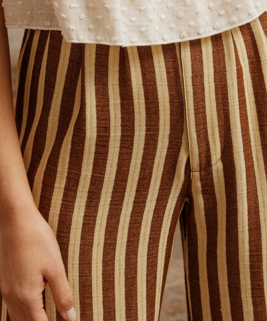 The Mara Trouser | Nutmeg Stripe image 13