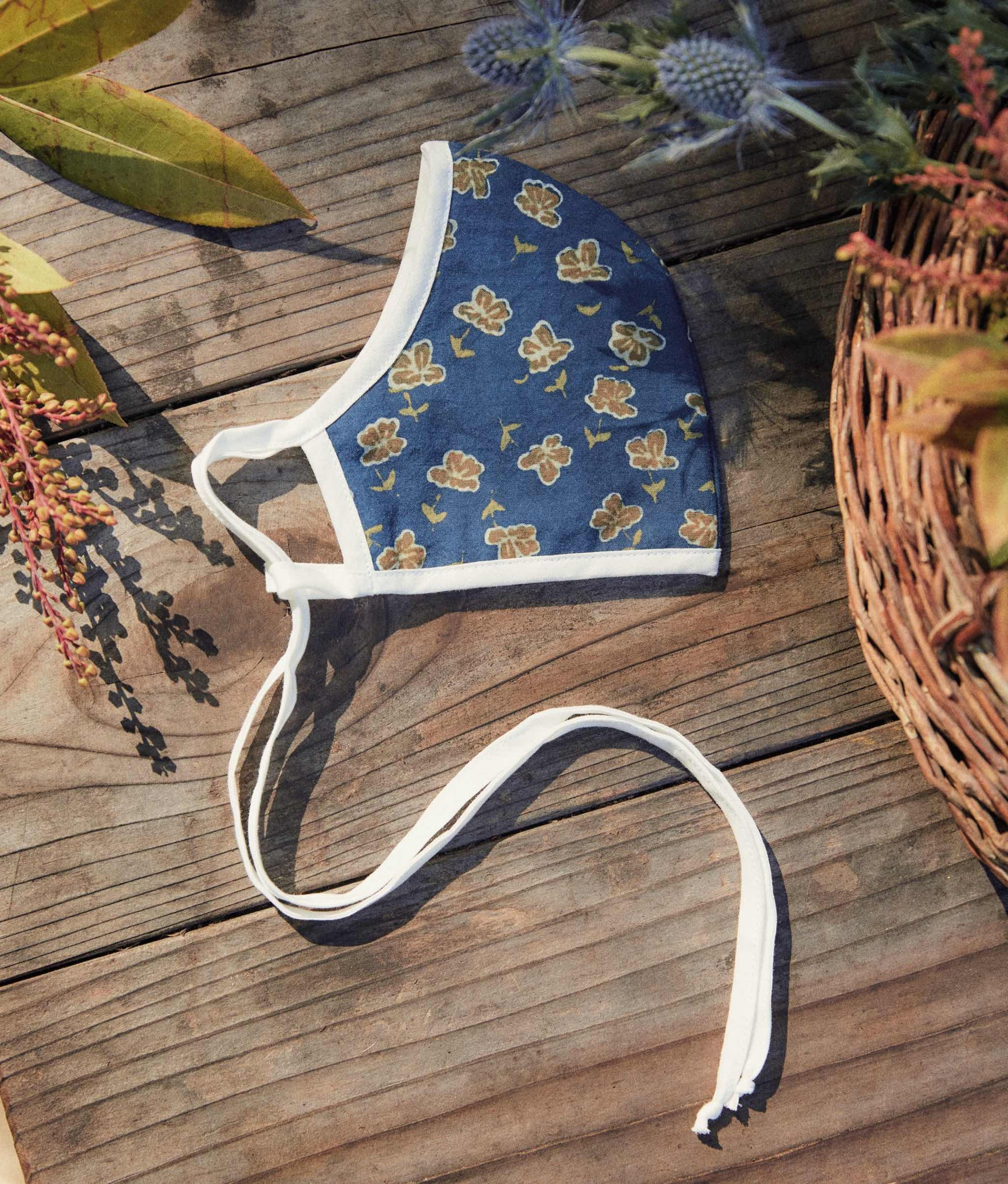The Sustainable Mask | Adult Navy Poppy (Block Printed)