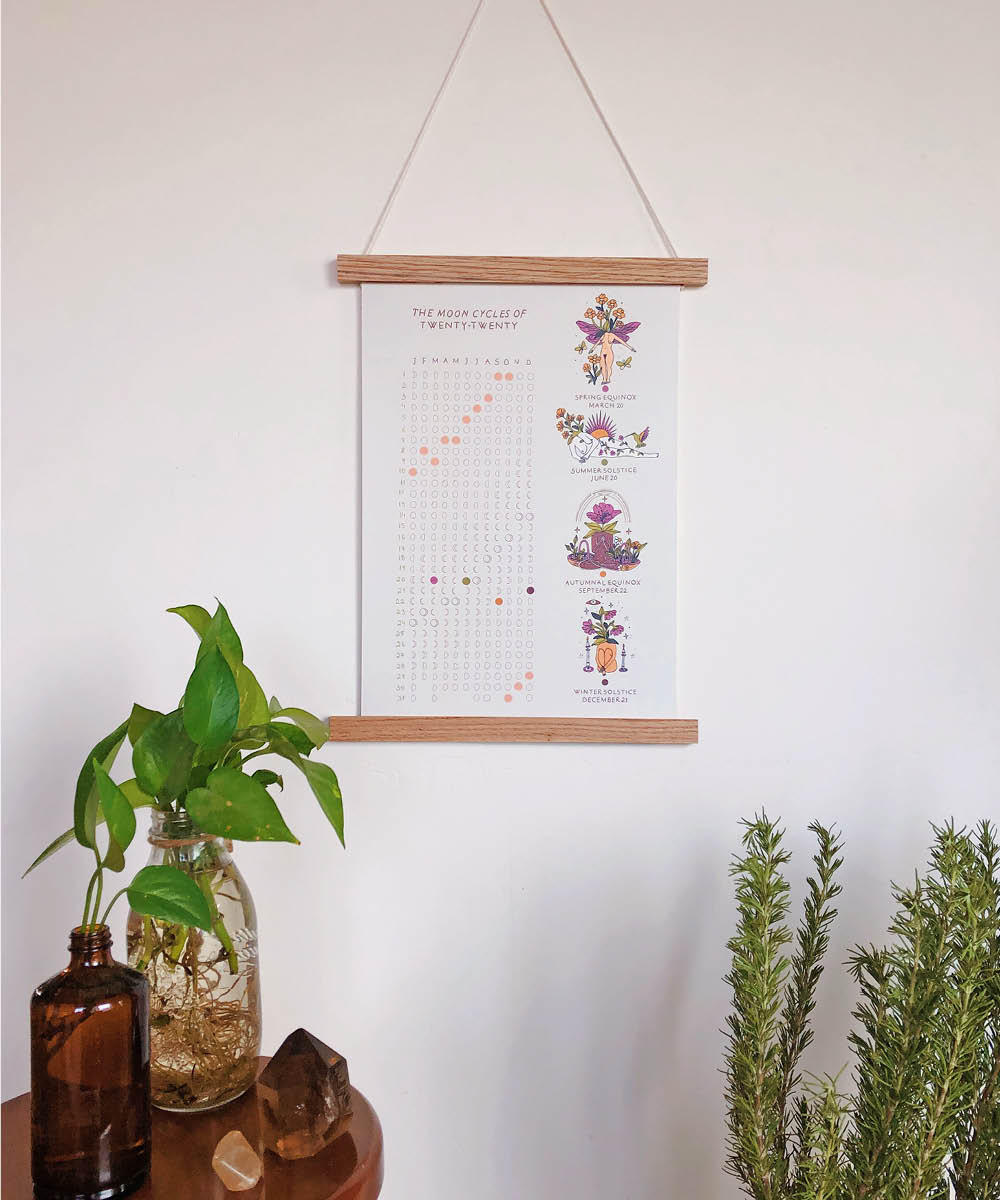 2020 Moon Calendar With Hanger Frame