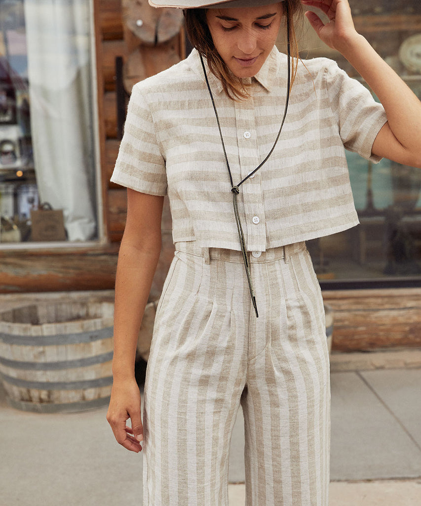 The Nina Two Piece | Ecru Stripe (Linen)