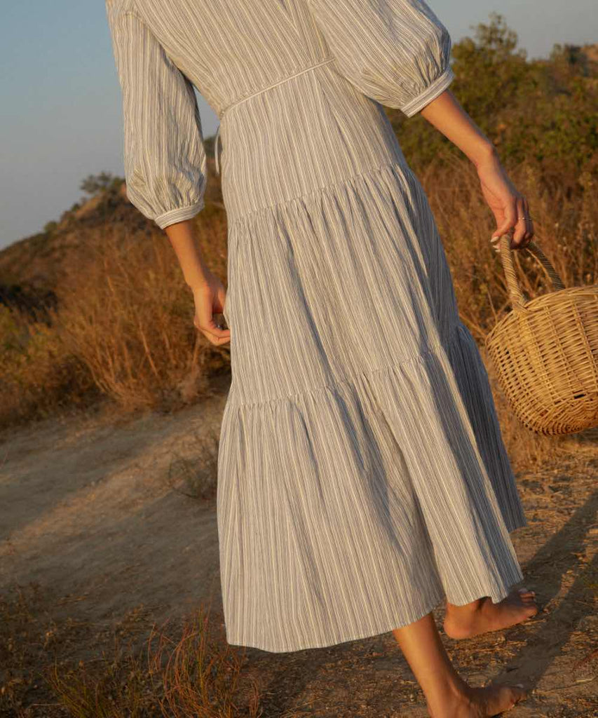 The Noah Dress | Washed Ocean Stripe
