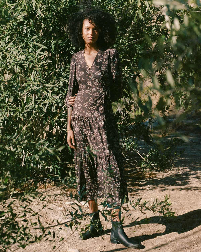 The Noah Dress | Noir Daisy Vine (Block Printed)