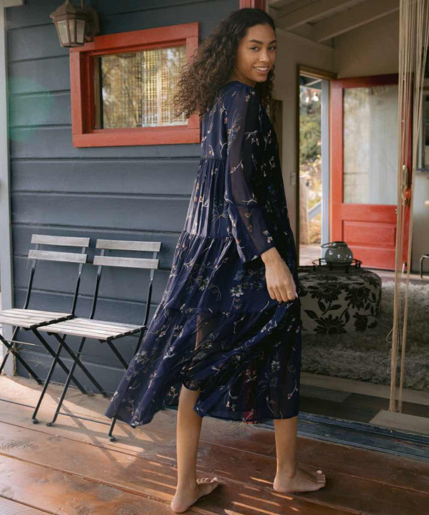 The Paloma Dress | Midnight Floral (Lined)