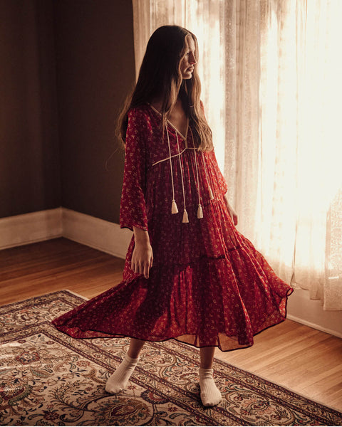 The Paloma Dress Petites | Oxblood Moon (Lined)