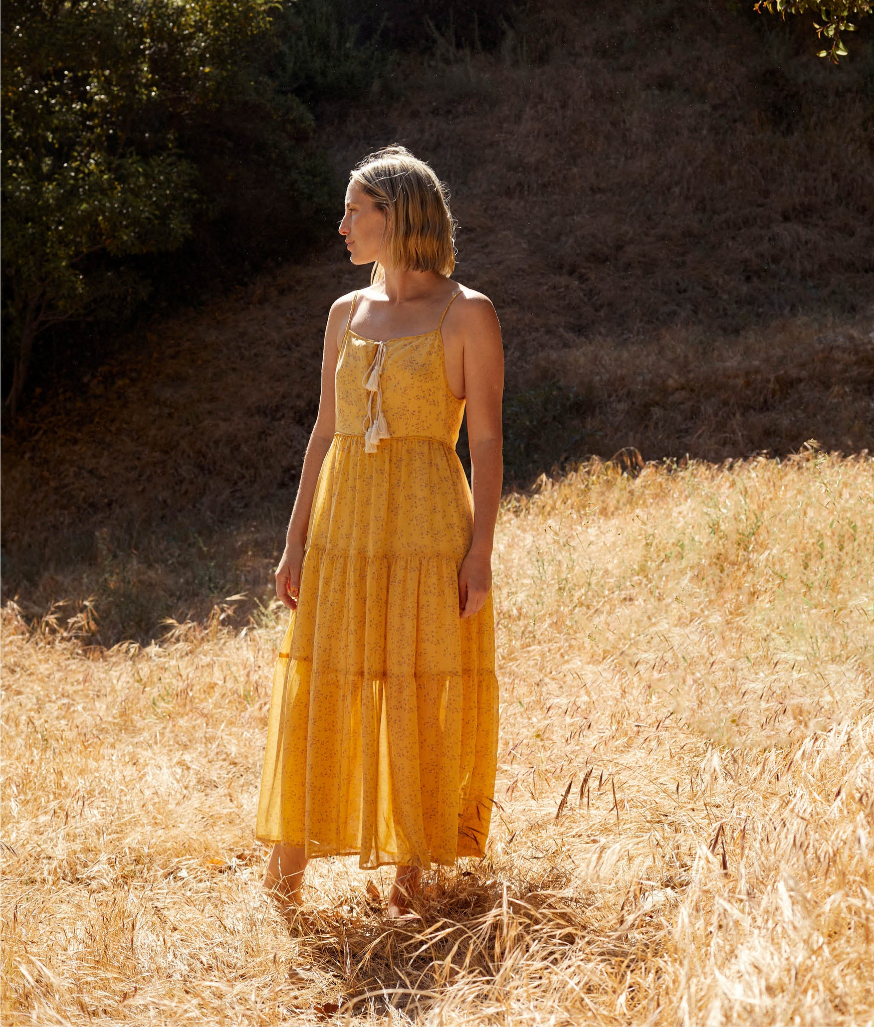 The Petunia Dress | Lemon Ditsy (Lined)