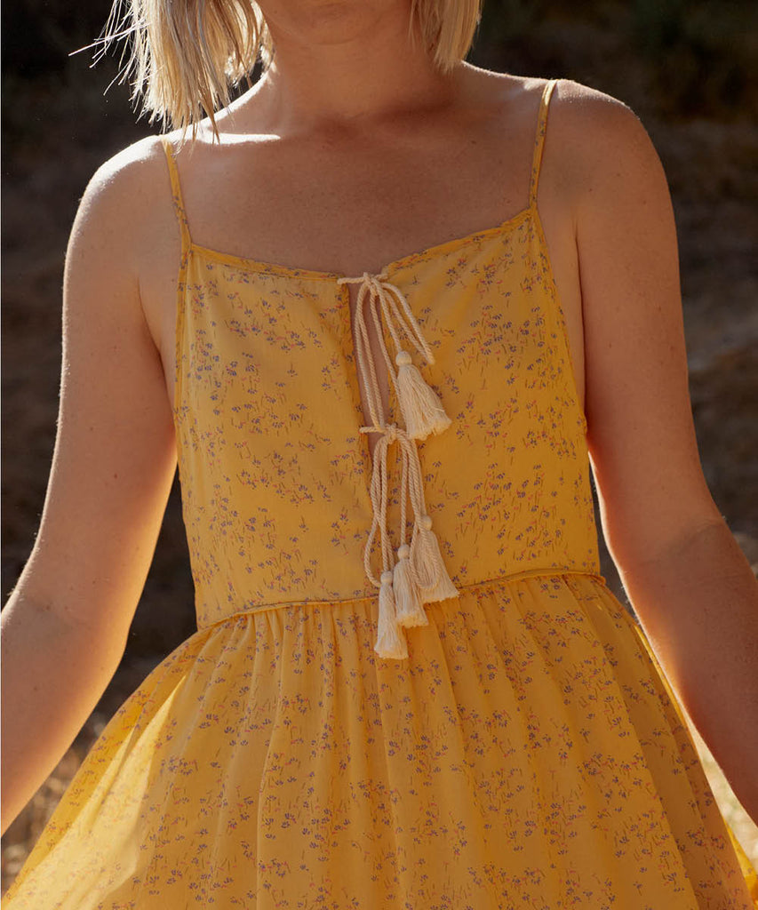 The Petunia Dress | Lemon Ditsy (Lined) image 10