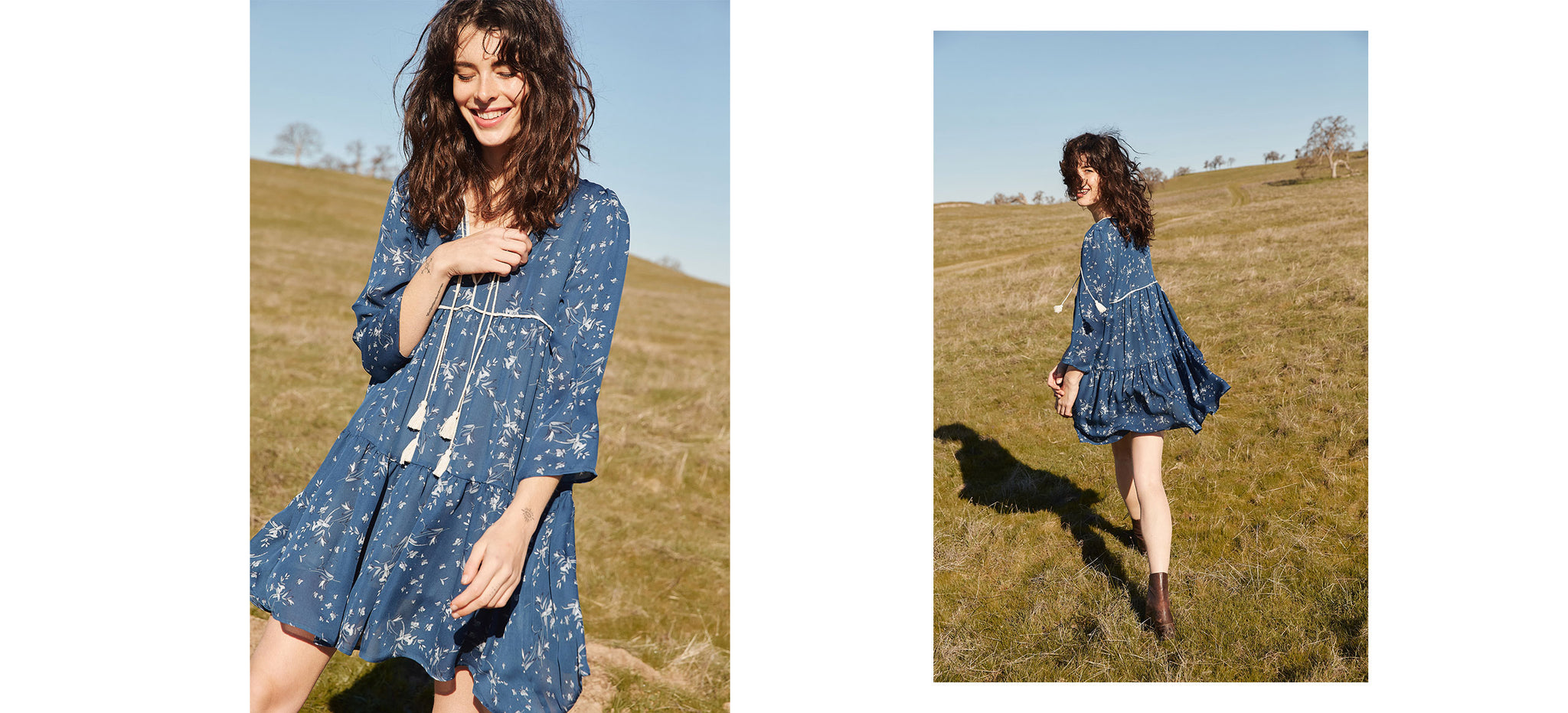 The Phoenix Dress | Winter Blue Floral Silk