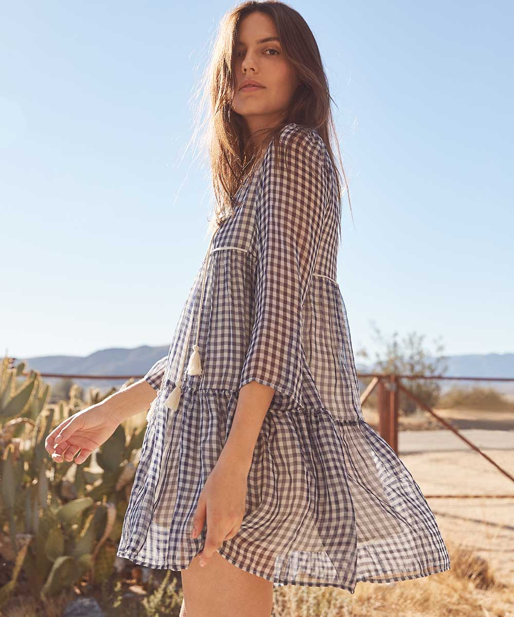 The Phoenix Dress | Blue Plaid Silk