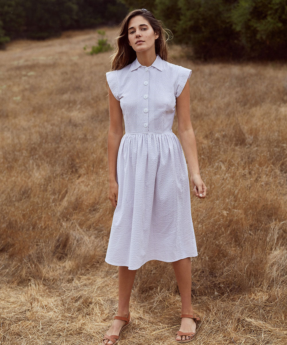 The Piper Dress | Lilac Seersucker