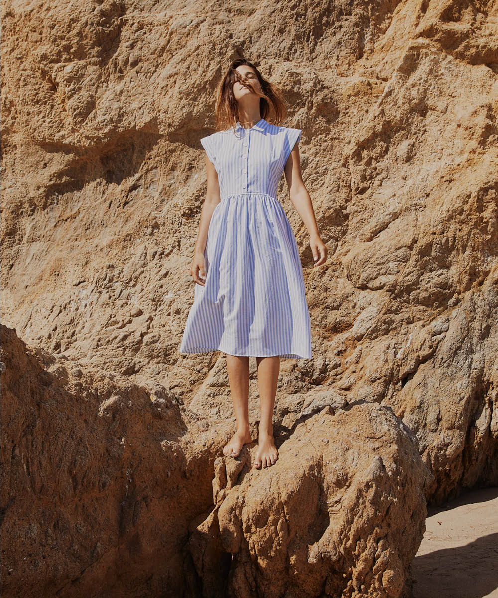The Piper Dress (Short) | Washed Cloud Stripe