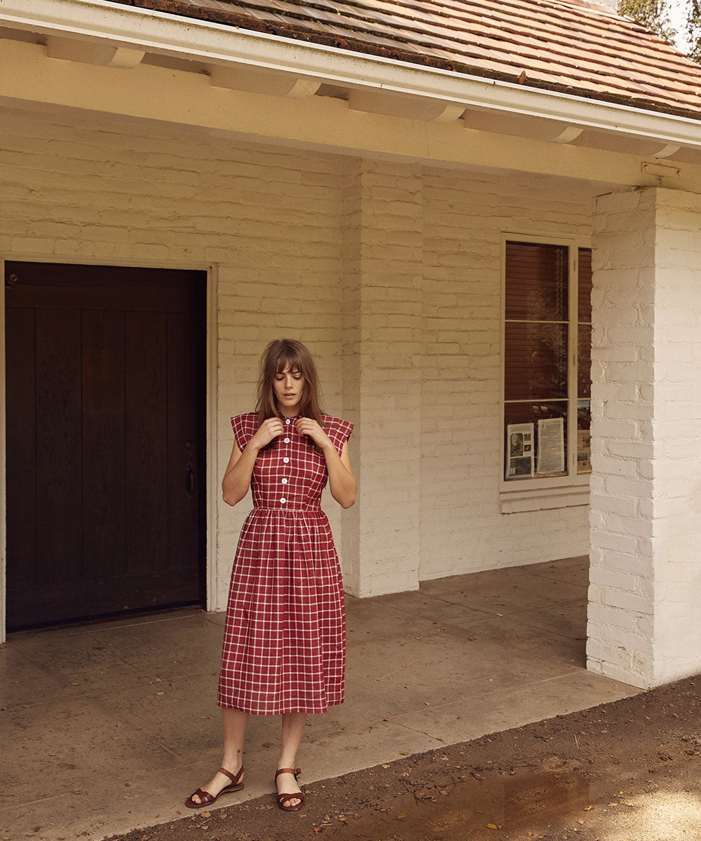 The Piper Dress | Carmine Plaid (Linen)
