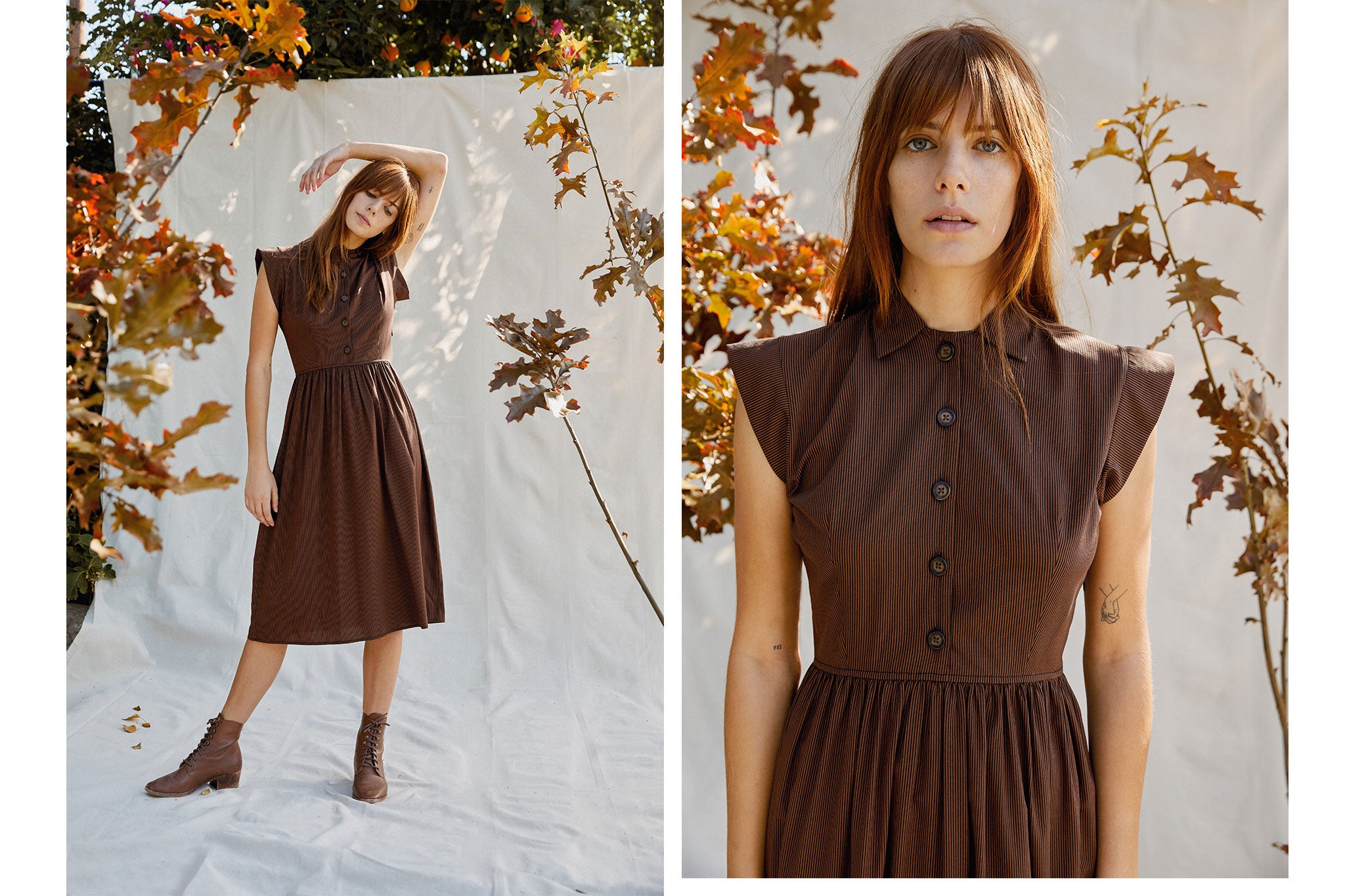 The Piper Dress (Short) | Maple Stripe