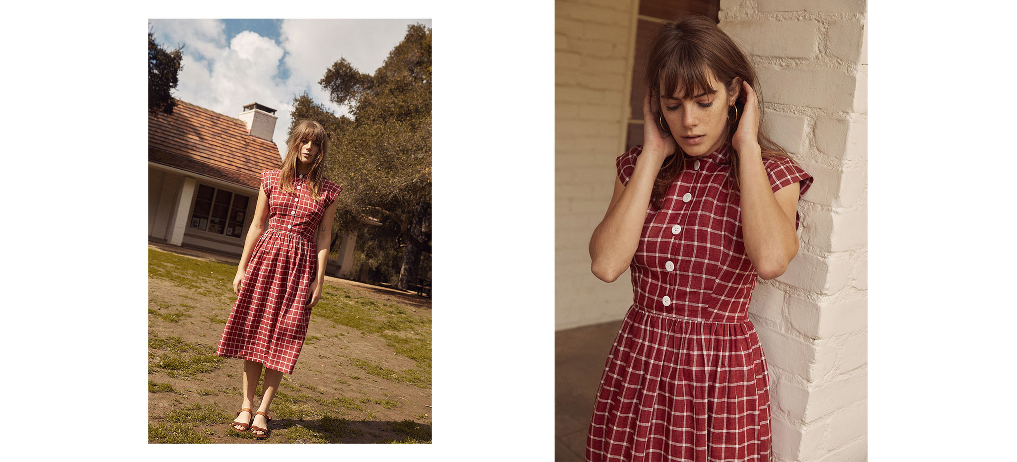 The Piper Dress (Short) | Carmine Plaid (Linen)