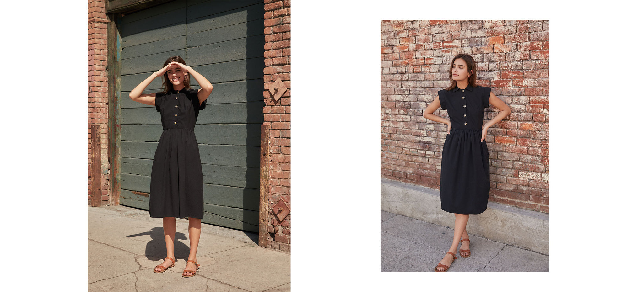 The Piper Dress (Short) | Noir Seersucker (Cotton)