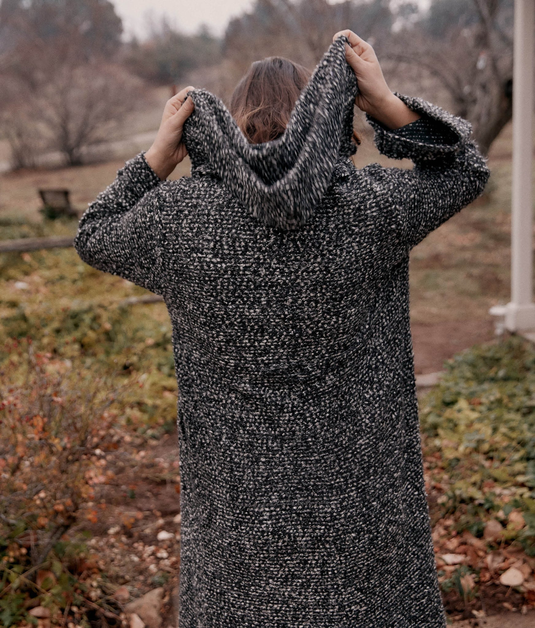 The Primrose Coat | Woven Charcoal