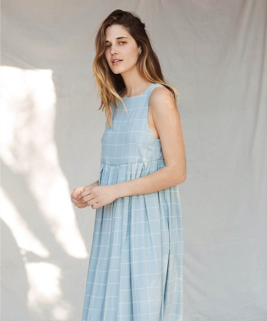The Remy Dress | Pebble Blue Checker image 10