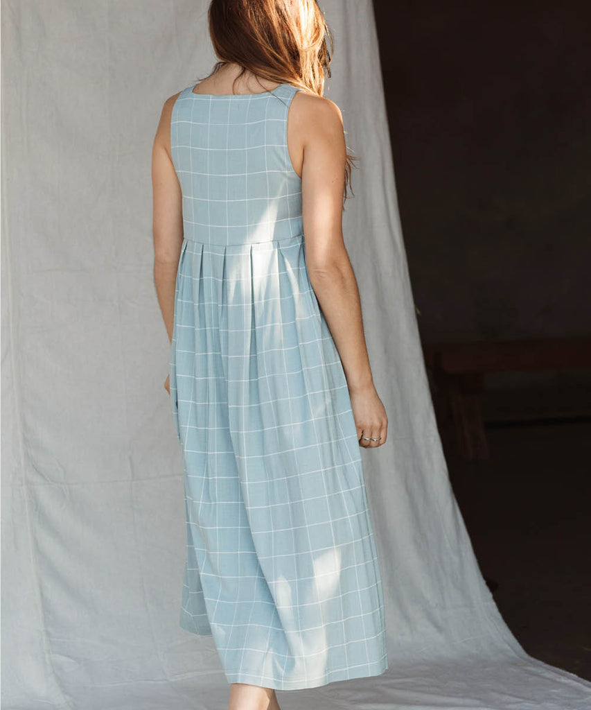The Remy Dress | Pebble Blue Checker image 12