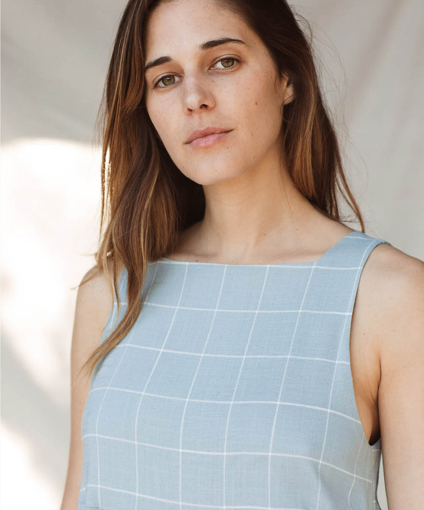 The Remy Dress | Pebble Blue Checker image 14