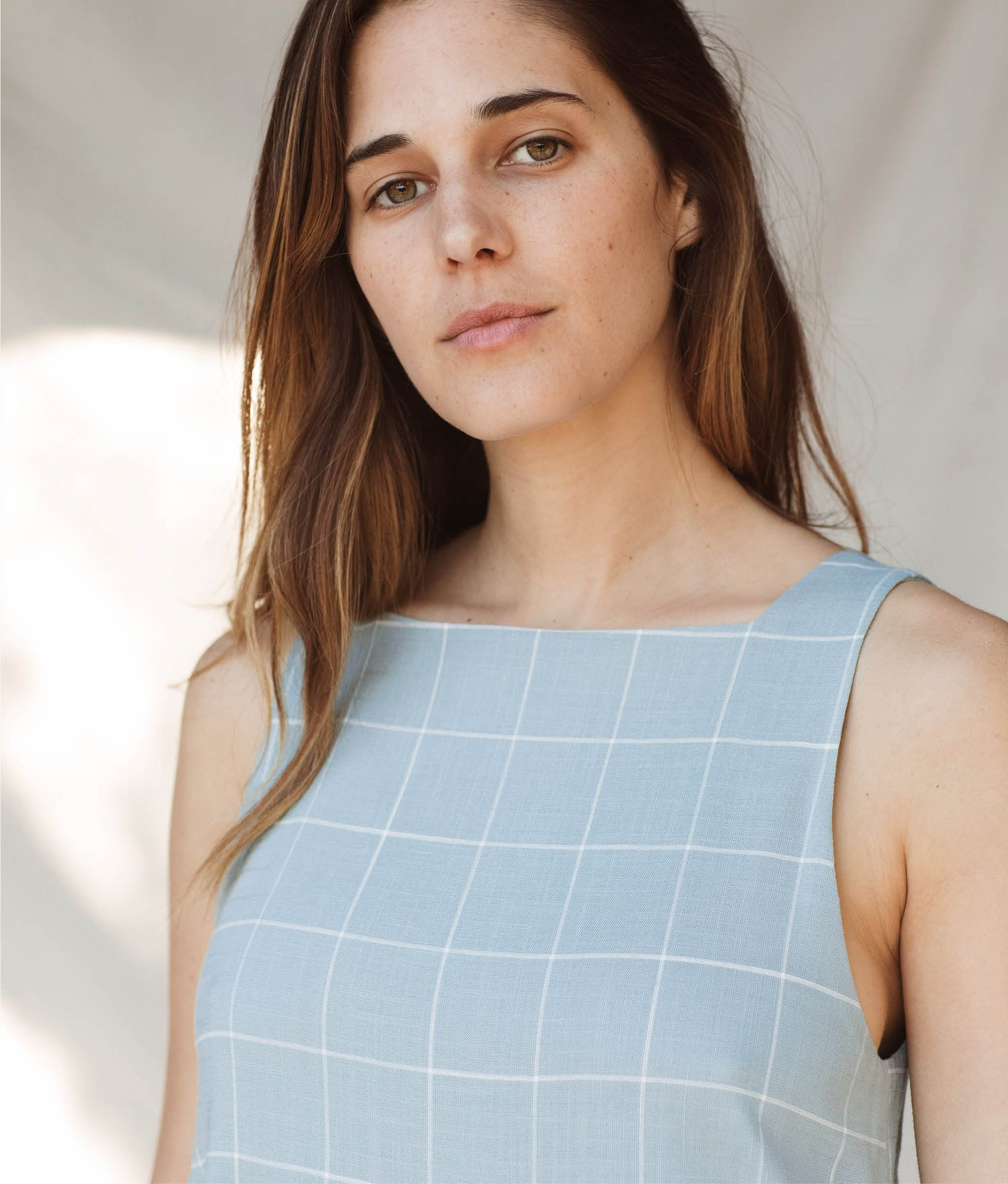 The Remy Dress | Pebble Blue Checker