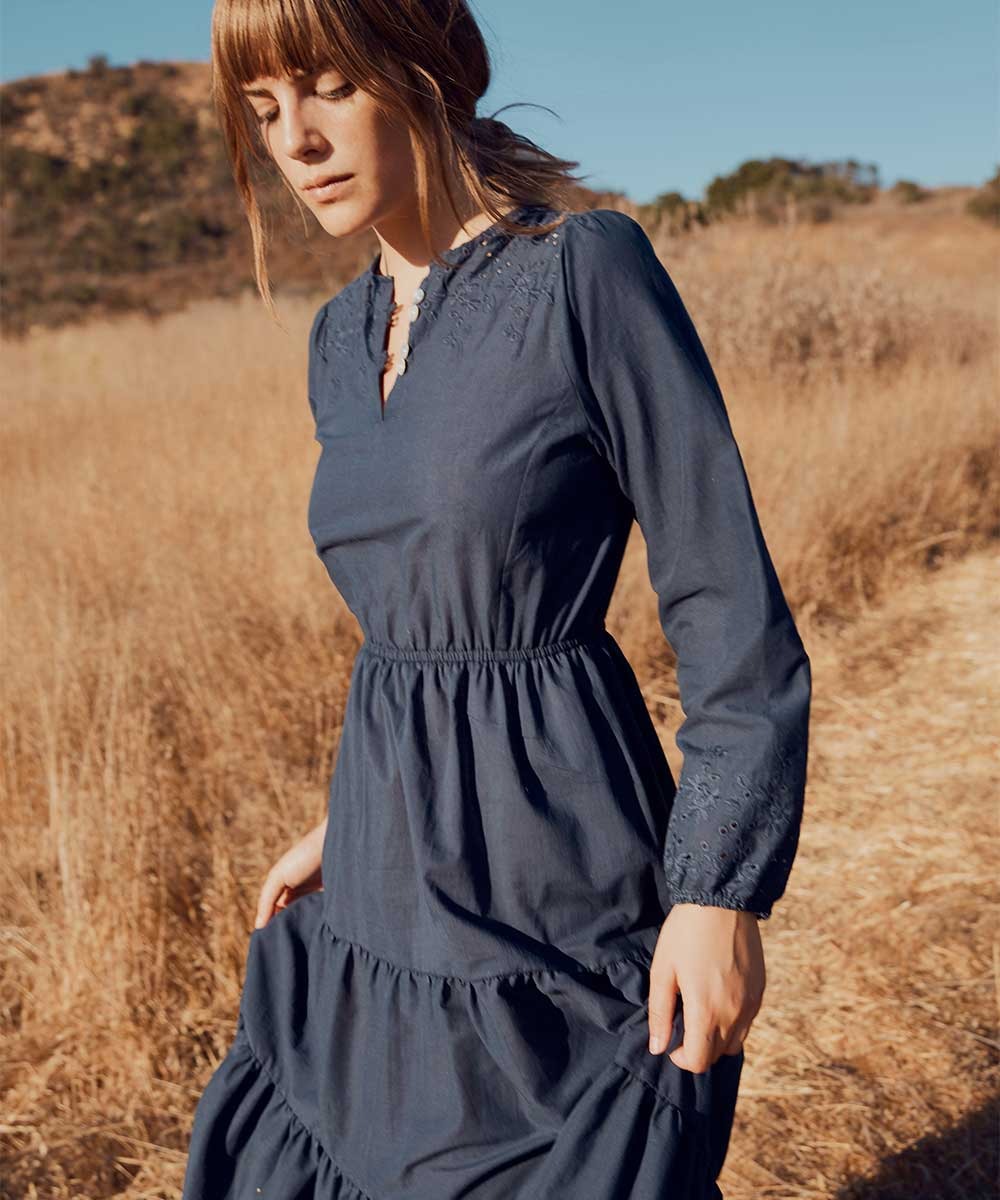 The River Dress | Navy Embroider