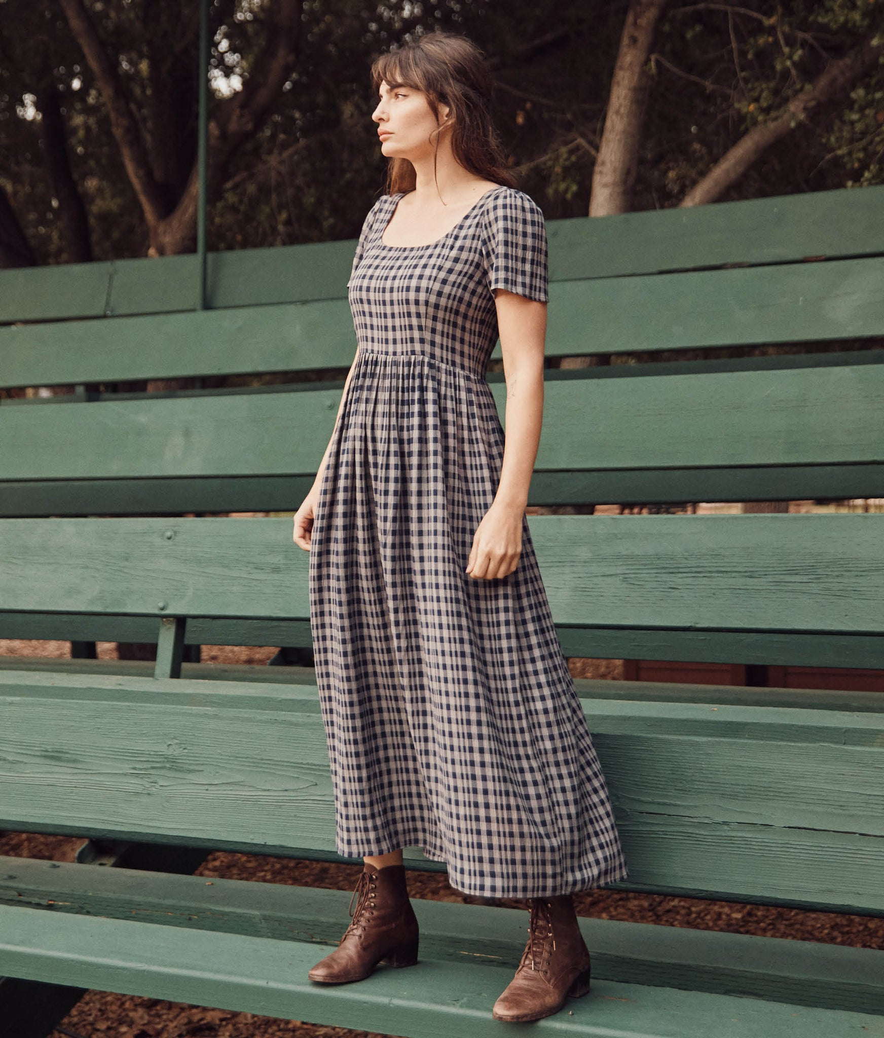 The Scarlet Dress |  Navy Checker
