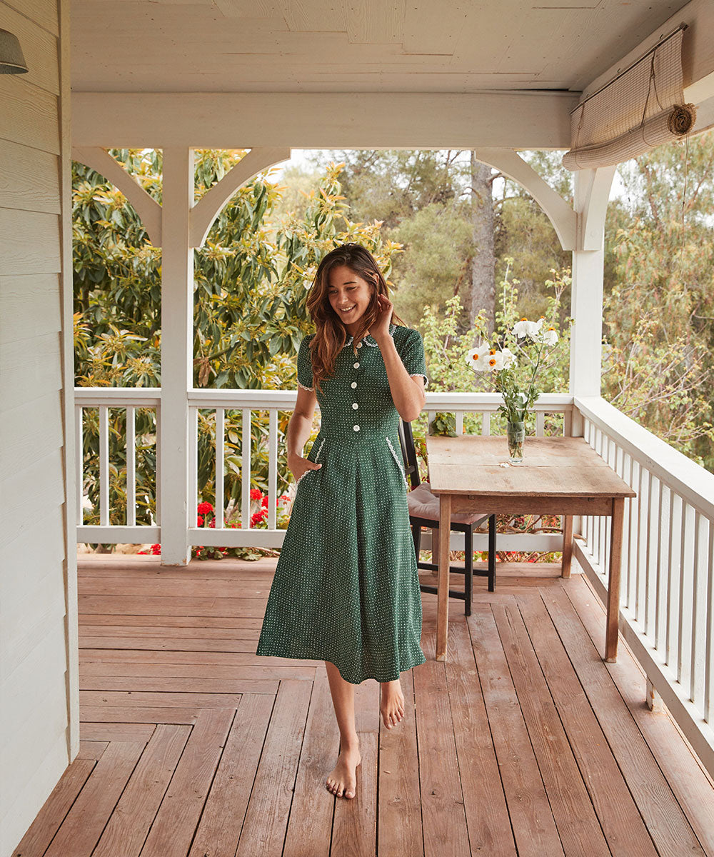 The Sebastian Dress | Emerald Ditsy