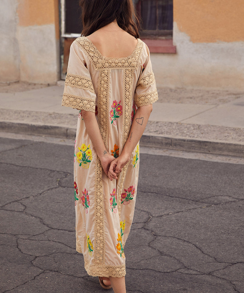 The Simone Dress | Cream Embroider