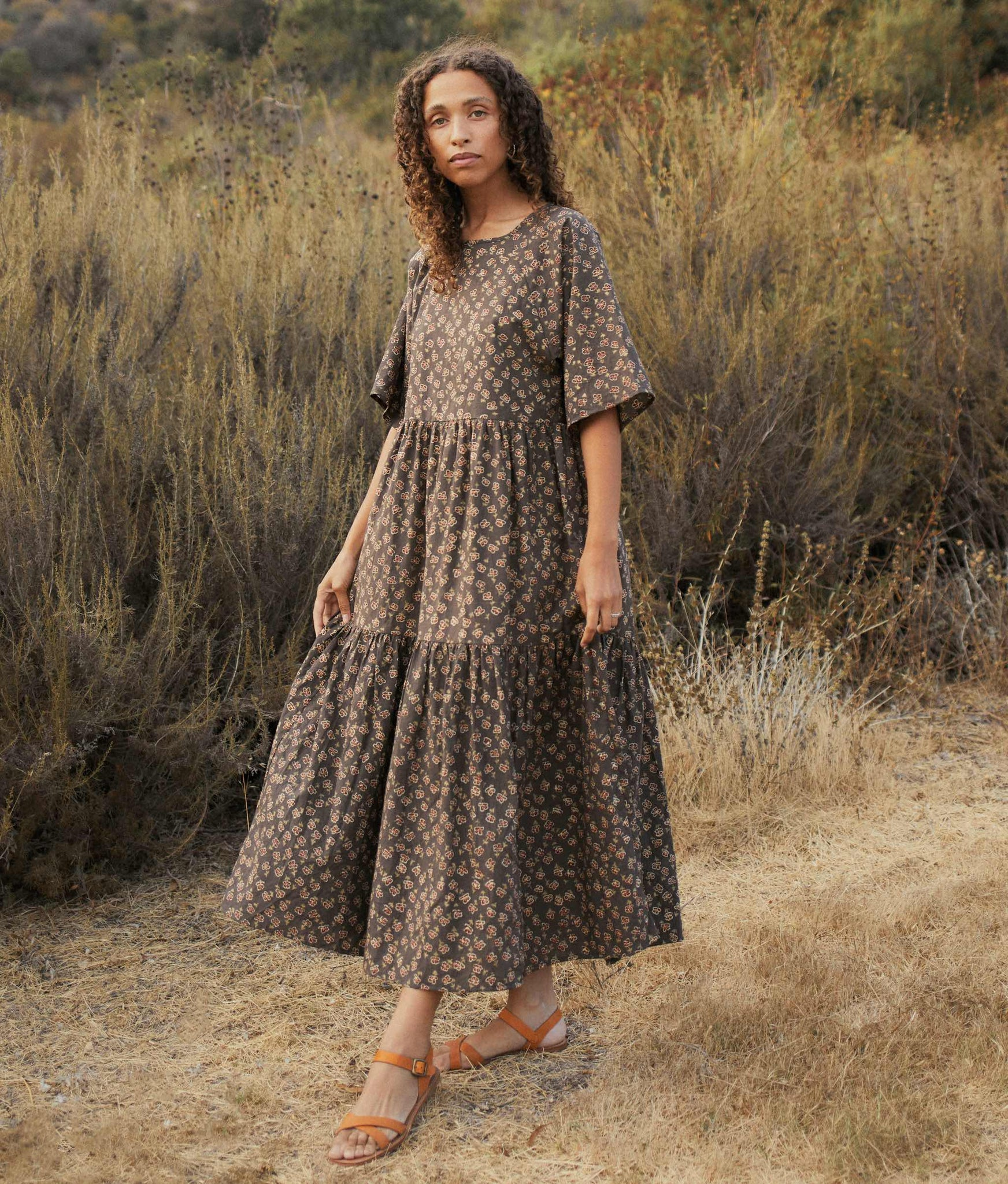 The Theo Dress | Grey Poppy (Block Printed)