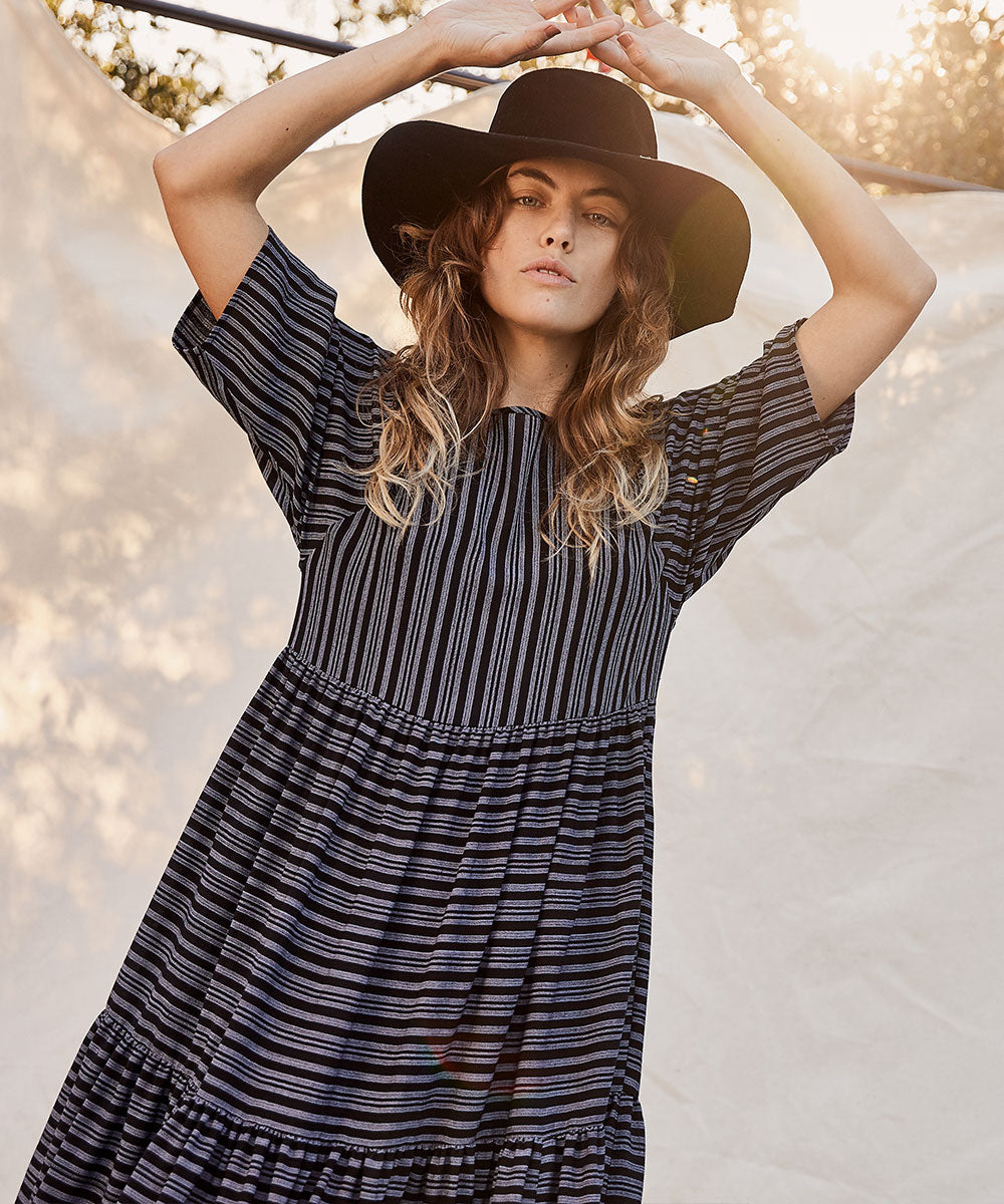 The Theo Dress Petites | Night Stripe