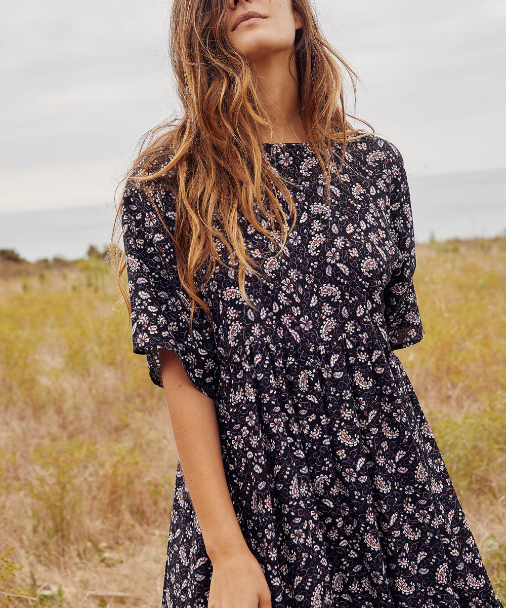 The Theo Dress | Amethyst Paisley