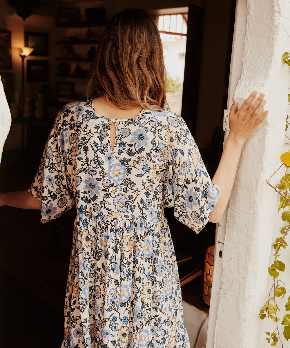 The Theo Dress | Prussian Blue Floral