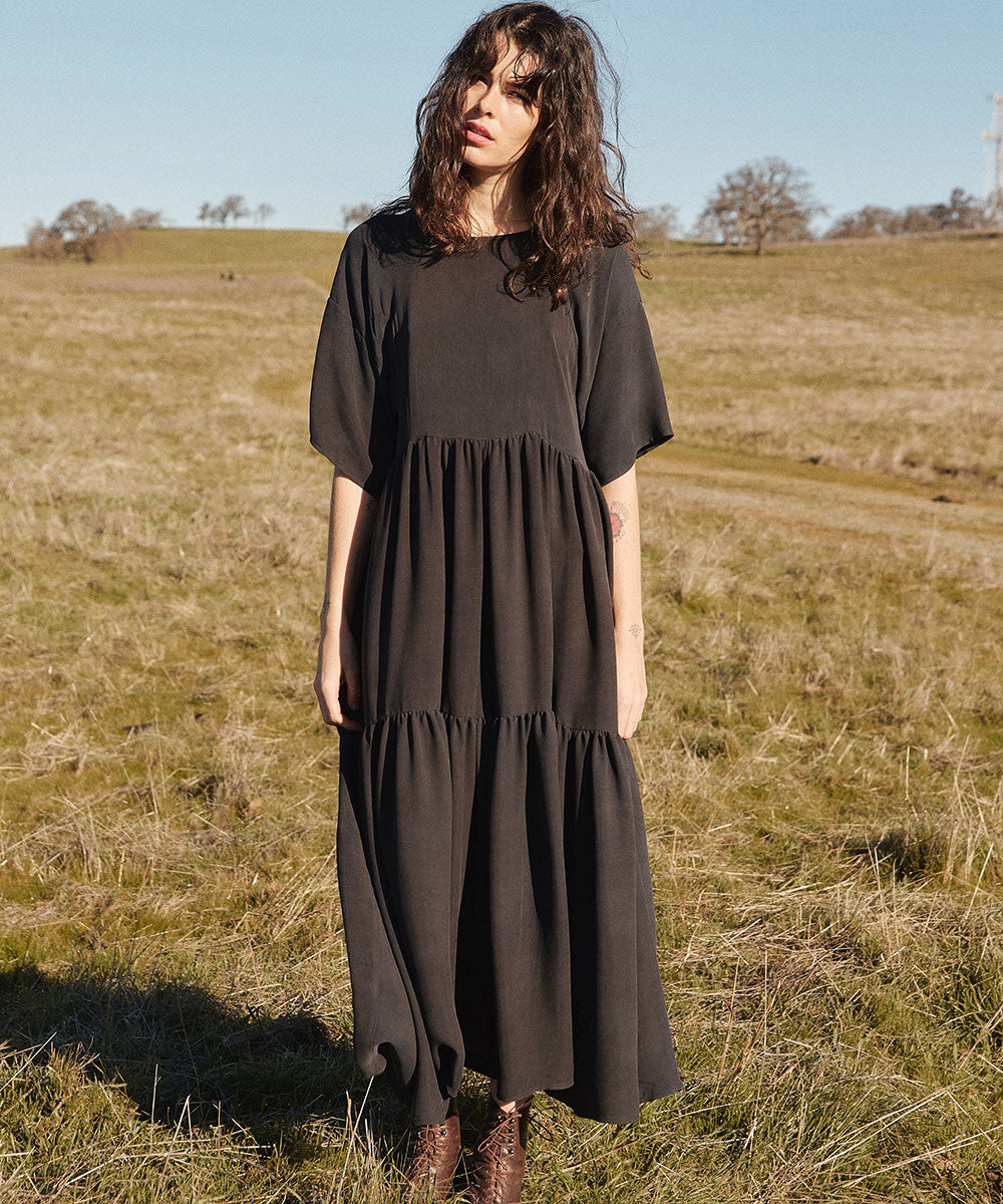 The Theo Dress | Charcoal Silk