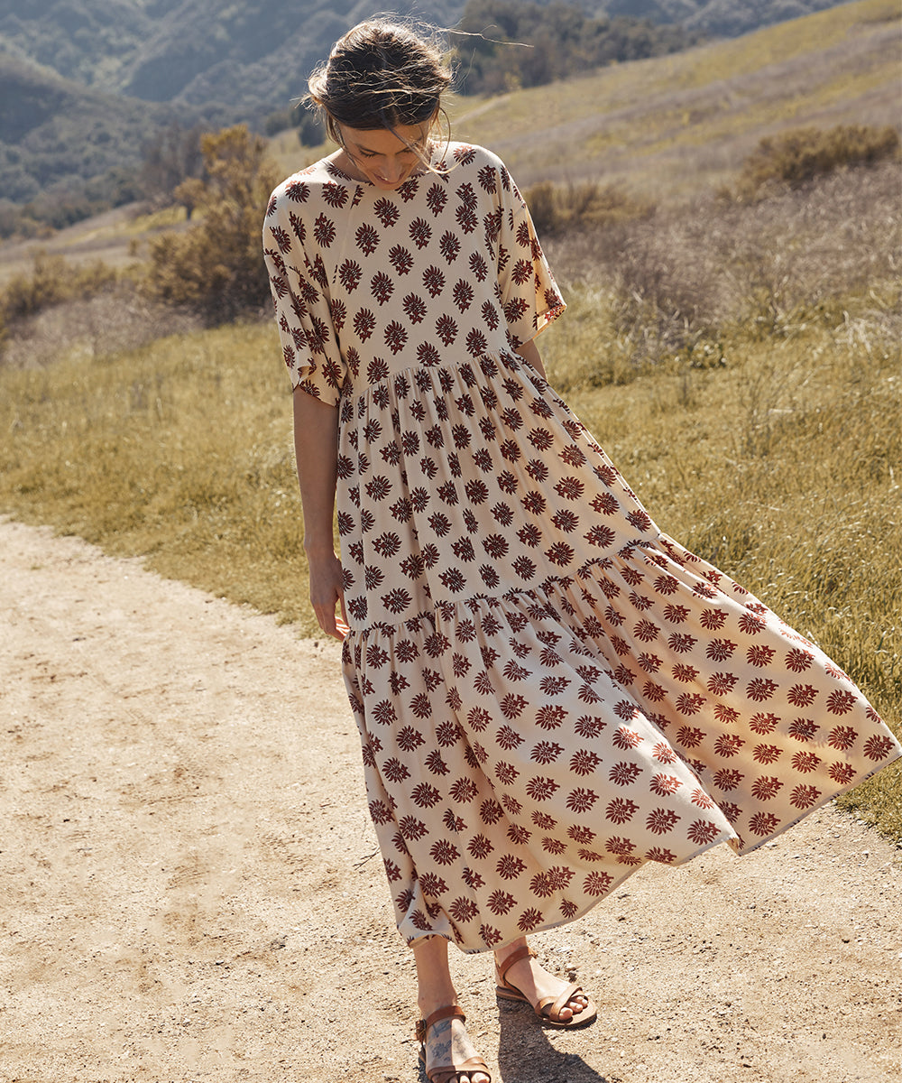The Theo Dress | Brick Palmette