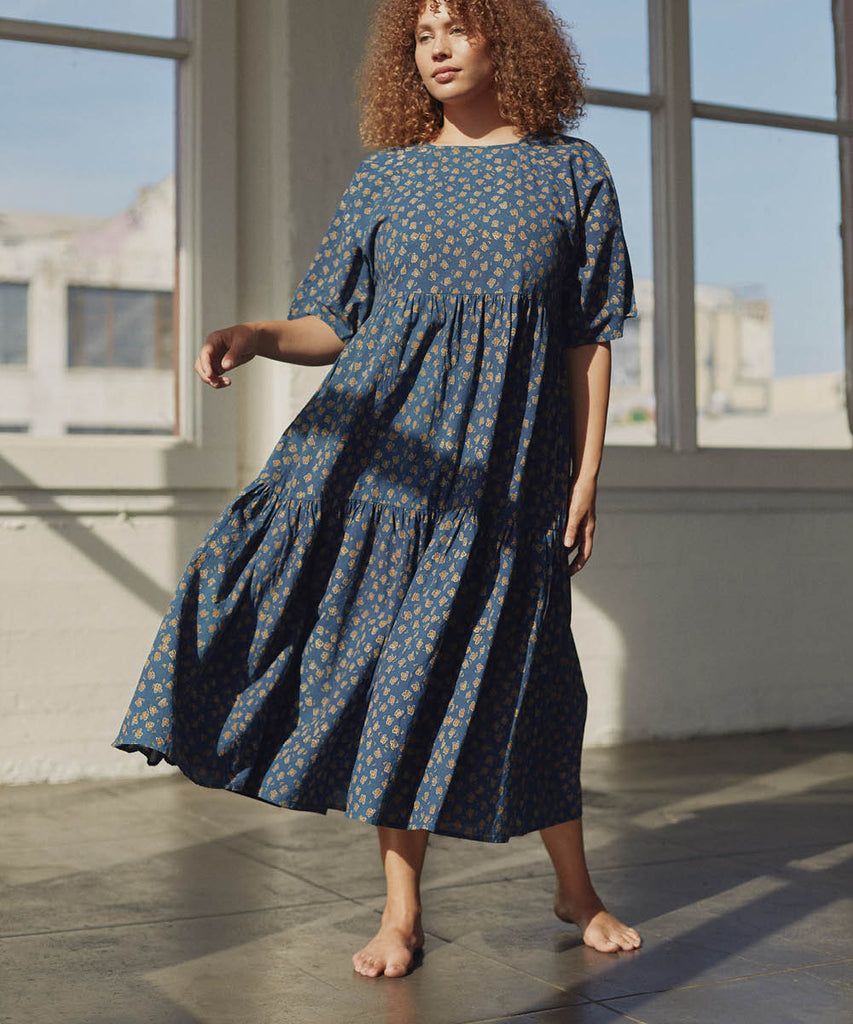 The Theo Dress | Navy Poppy (Hand Blocked)