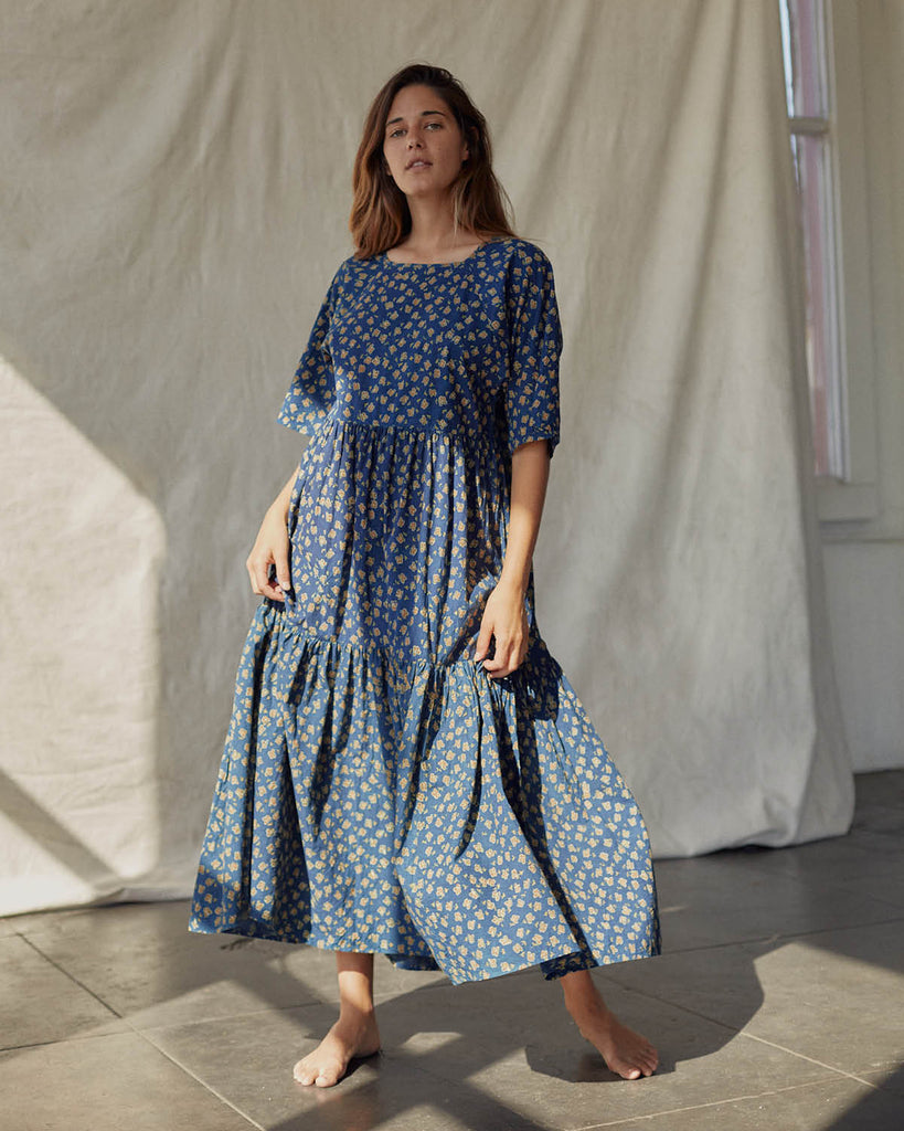The Theo Dress | Navy Poppy (Block Printed)