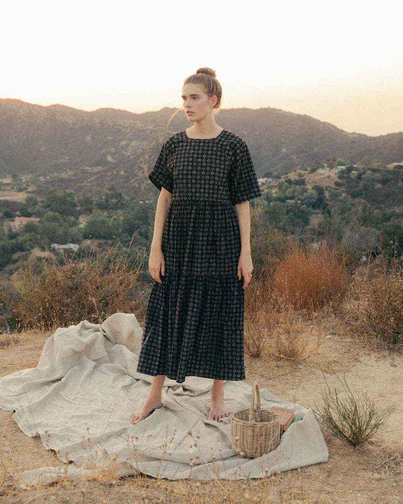 The Theo Dress | Noir Daisy Field (Block Printed)