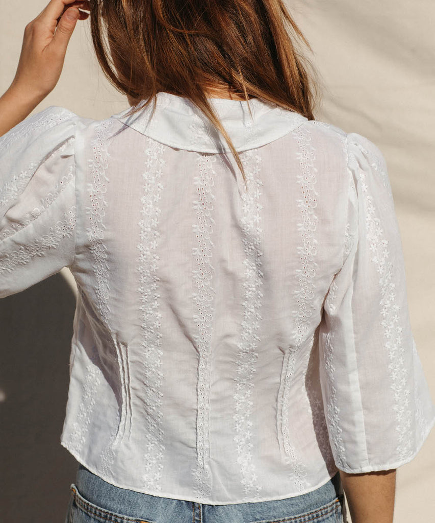 The Uma Top | Antique Eyelet Embroider