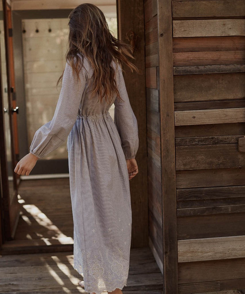 The Willa Dress | Slate Stripe Embroider