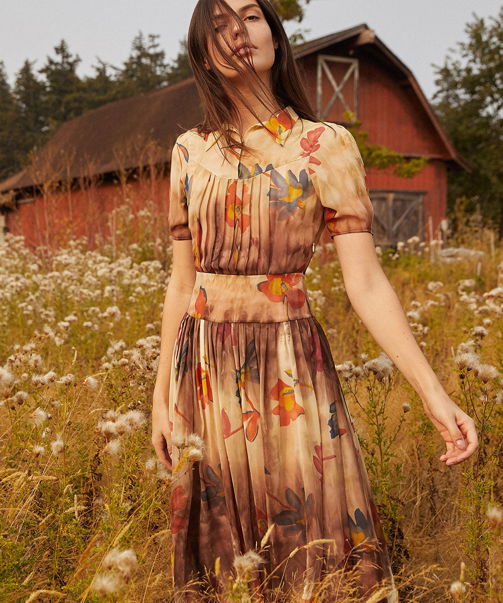 The Winslet Dress | Umber Floral (Silk)