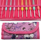 Bag Set of 10 Aluminum Crochet Hooks Multi Color Plastic Grip Handle 2.0mm - 6.0mm
