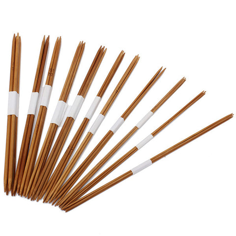 55pcs/set 11 Sizes Double Pointed Carbonized Bamboo Double Pointed Knitting Needles