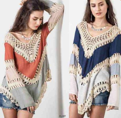 Multicolor Vneck Lace Crochet Hollow Out Kimono Blouse