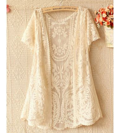 See-through Hollow Out Lace Crochet Kimono Cardigan