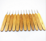 Bamboo Handle Steel Crochet Hook Set 12pcs/Set 12 sizes