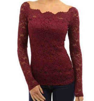 Autumn Women Blouse Off Shoulder Slash Neck Crochet Solid Shirts