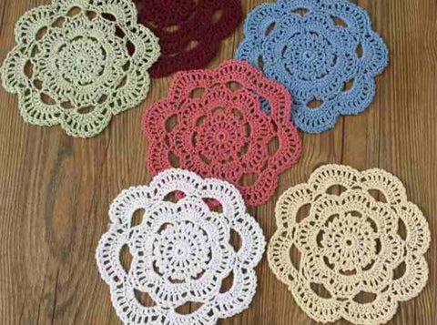 Handmade Crochet 100% Cotton Vintage Coasters