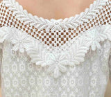 Slim Fit Tops Beaded Embroidery Neck Long Sleeve Hollow Out Crochet