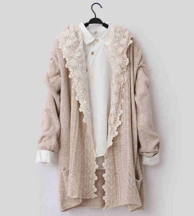 Japanese Mori Girl Style Crochet Lace Sweater Jacket